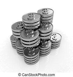 monnaie, dollar, pile, or