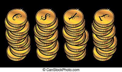 monnaie, doré, pièces