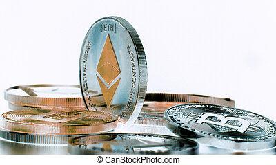 monnaie, ethereum, arrière-plan., argent, stand., inverse, rotation, noir, crypto