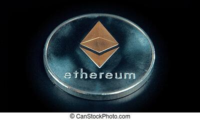 monnaie, ethereum, arrière-plan., argent, stand., rotation, noir, crypto