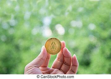 monnaie, extérieur, crypto, fond, eos.io