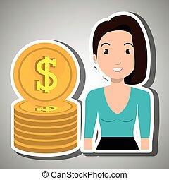 monnaie, femme, dollar, argent