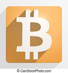 monnaie, financier, bitcoin, icône