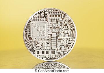monnaie, fond, bitcoin, jaune, argent