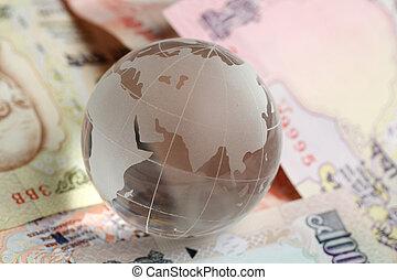 monnaie, globe, indien