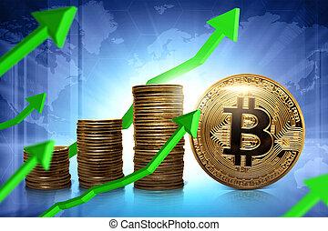 monnaie, levée, bitcoin
