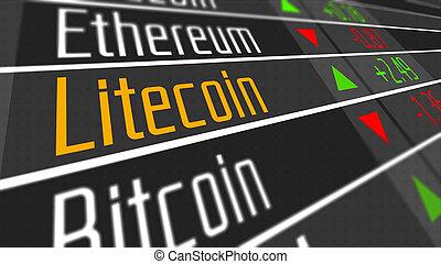 monnaie, litecoin, crypto, marché
