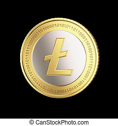 monnaie, litecoin, doré