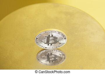 monnaie, métal, bitcoin, surface, argent