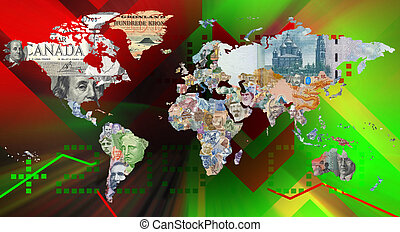 monnaie, mondiale, fond, carte