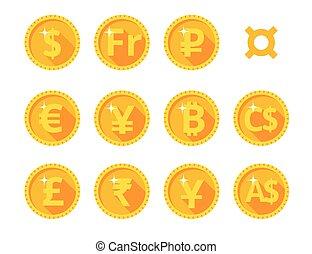monnaie, mondiale, or, icônes