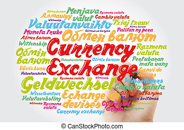 monnaie, mot, nuage, échange