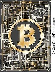monnaie, numérique, bitcoin, fond, doré