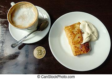 monnaie, or, bitcoin, aigre, pan cake, table, café, capuccino, crème