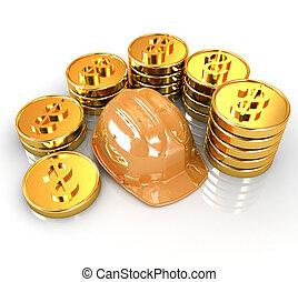 monnaie, or, fond, ctack, chapeau, autour de, dur, blanc
