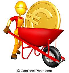 monnaie, or, ouvrier, brouette