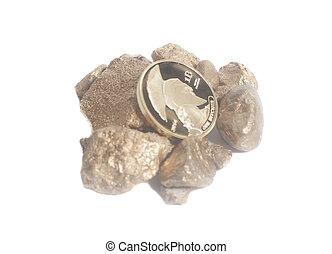 monnaie, or, pépites, bitcoin