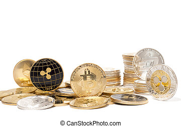 monnaie, pièces, brillant, crypto