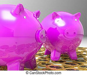 monnaie, projection, pièces, américain, piggybanks