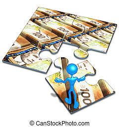 monnaie, puzzle, concept, canadien