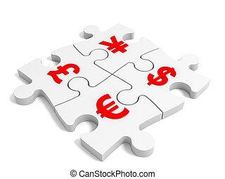 monnaie, puzzle, concept.