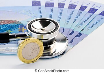 monnaie, stéthoscope, billet banque, euro