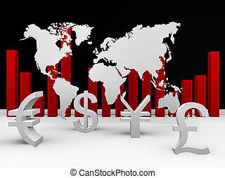 monnaies mondiales, autour de, commercer
