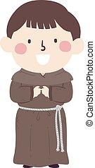 monnik, middeleeuws, jongen, illustratie, geitje