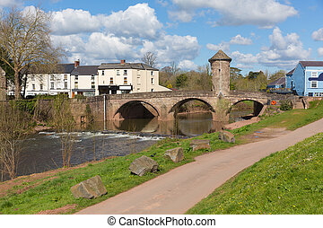 Monnow Bridge Monmouth Wales uk medieval fortified river...