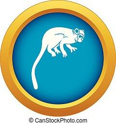 mono azul, aislado, mono tití, vector, icono