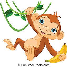 mono, bebé, árbol