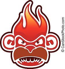 mono, cara, logotipo