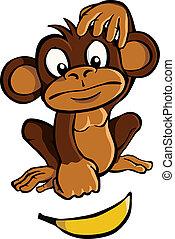 mono, caricatura, plátano