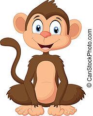 mono, caricatura, sentado