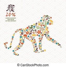 mono, chino, china, año, nuevo, 2016, icono, mono
