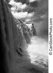 Mono cloud of spray beneath Iguazu Falls