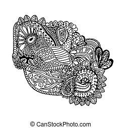 Mono color black line art element for adult coloring book page design. Floral collection. Ethnic zentangle ornament