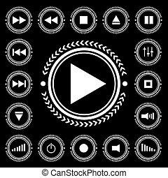 mono control - Black and white electronic control icon...