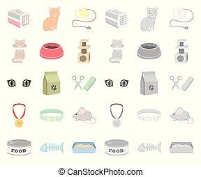 mono, design., wektor, rysunek, zwierzę, troszcząc, komplet, sieć, kot, pień, zbiór, symbol, ikony, illustration.