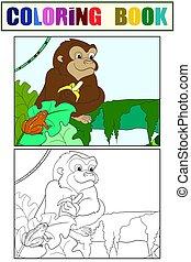 mono, ejemplo, libro, color., colorido, niños, banana.