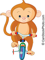 mono, en, bicicleta