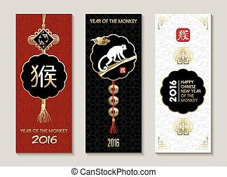 mono, feliz, nuevo, 2016, chino, año