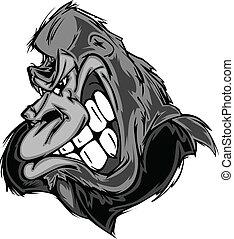 mono, gorila, o, caricatura, mascota