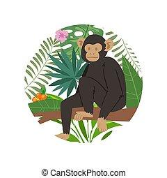 mono, hojas, exótico, illustration., palma, floral, árbol, vector, selva, animal, tropical, mono tití, aislado, plano de fondo, monstera, white.