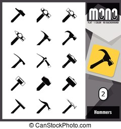 Mono Icons - Hammers 2. Flat monochromatic icons