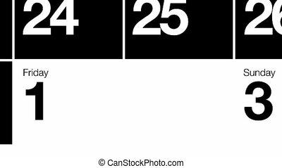 mono, kalendarz, pętla, hd, miesiąc