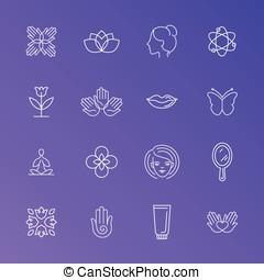 mono, kreska, etykiety, symbole, zbiór