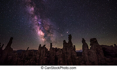 Milky Way rising over Tufa Towers Mono Lake California