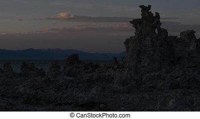Mono Lake Sunrise slow pan - Calcium Carbonate limestone...