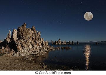 Mono Lake Tufas With the Moon at Night